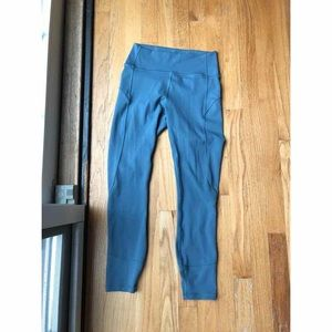 "lululemon in movement tight 28"" leggings teal/gray"